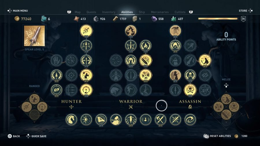 All Assassin's Creed Odyssey abilities hunter