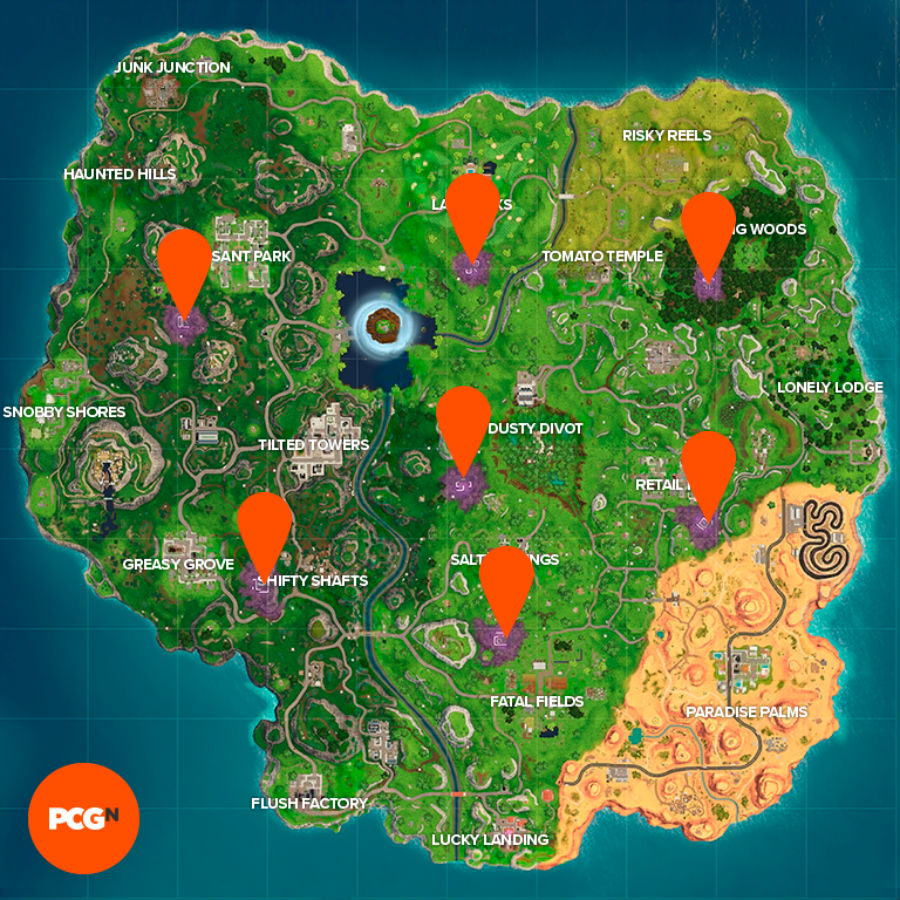 All Fortnite Corrupted Areas locations map