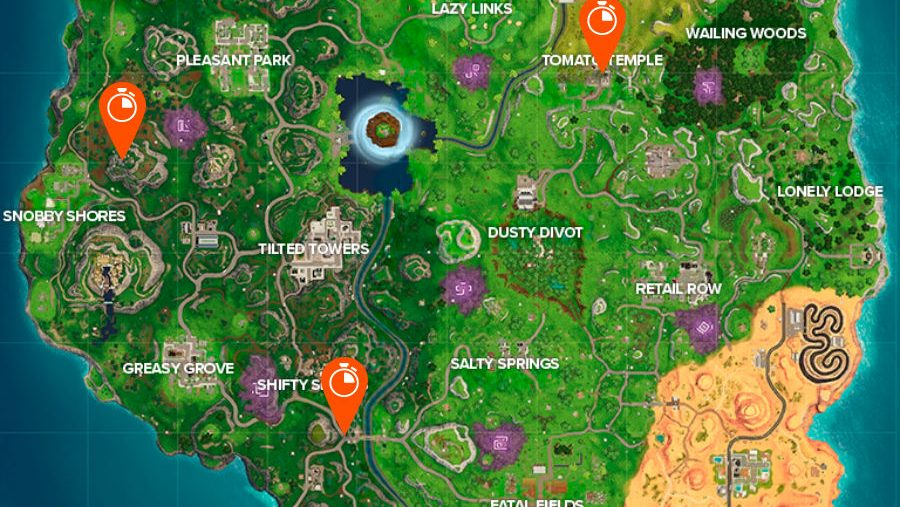All Fortnite timed trials locations map