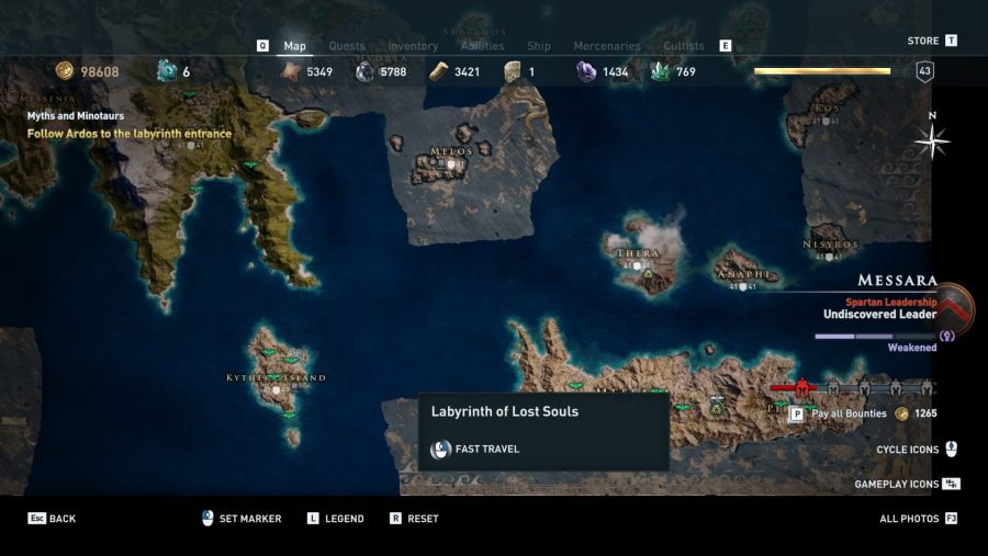 Assassin's Creed Odyssey Minotaur map