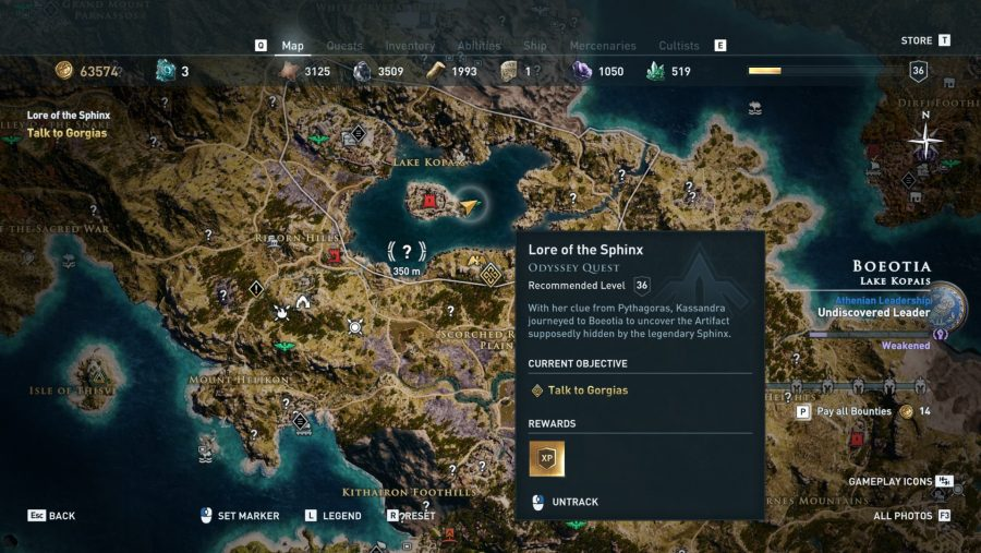 Assassin's Creed Odyssey Sphinx map