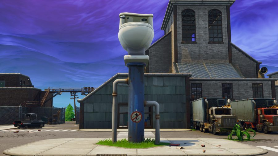 Fortnite clock tower pink tree giant porcelain throne location