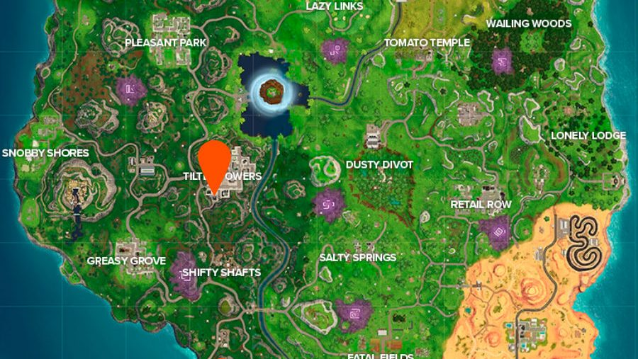Fortnite where to dance on top of a Clock Tower Pink Tree and Giant Porcelain Throne