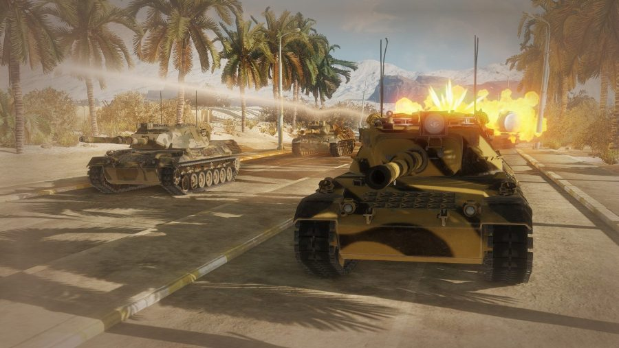 A convoy of tanks comes under fire in one of the best free PC games, Armored Warfare