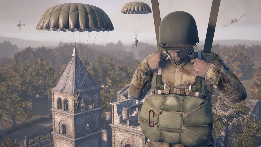 Soldiers parachute down into a village in one of the best free PC games, Heroes and Generals