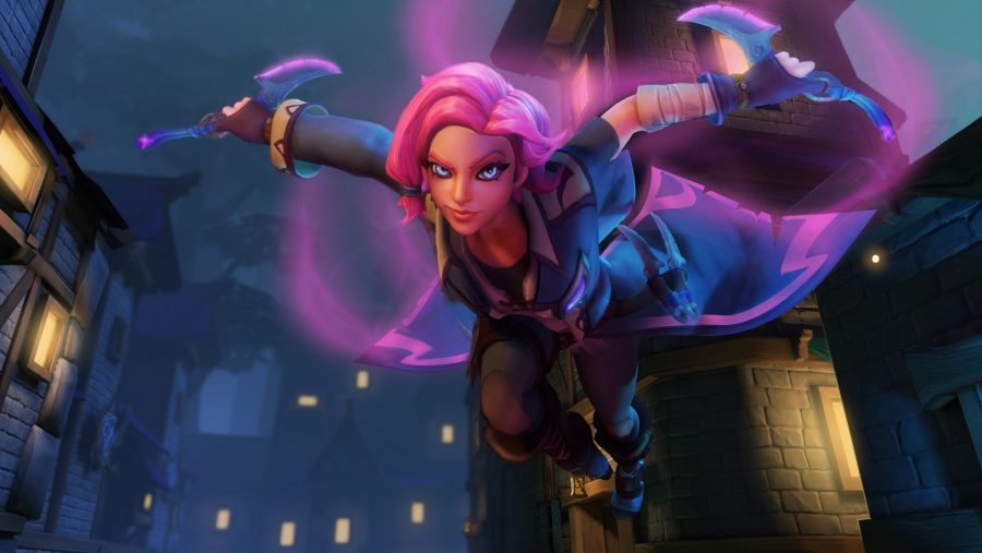 A hero jumps down from above, ready to fight, in one of the best free PC games, Paladins