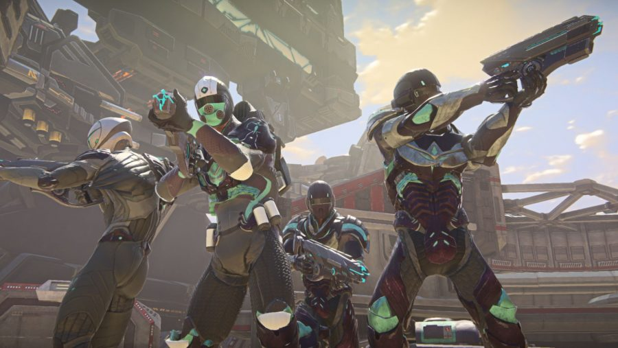 A squad of four teammates ready for battle in Planetside 2, one of the best free games on Steam