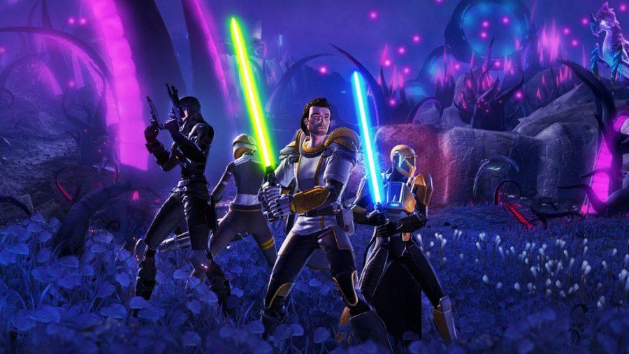 กลุ่มสี่พร้อมสำหรับการต่อสู้ในหนึ่งใน MMO ที่ดีที่สุด Star Wars: The Old Republic