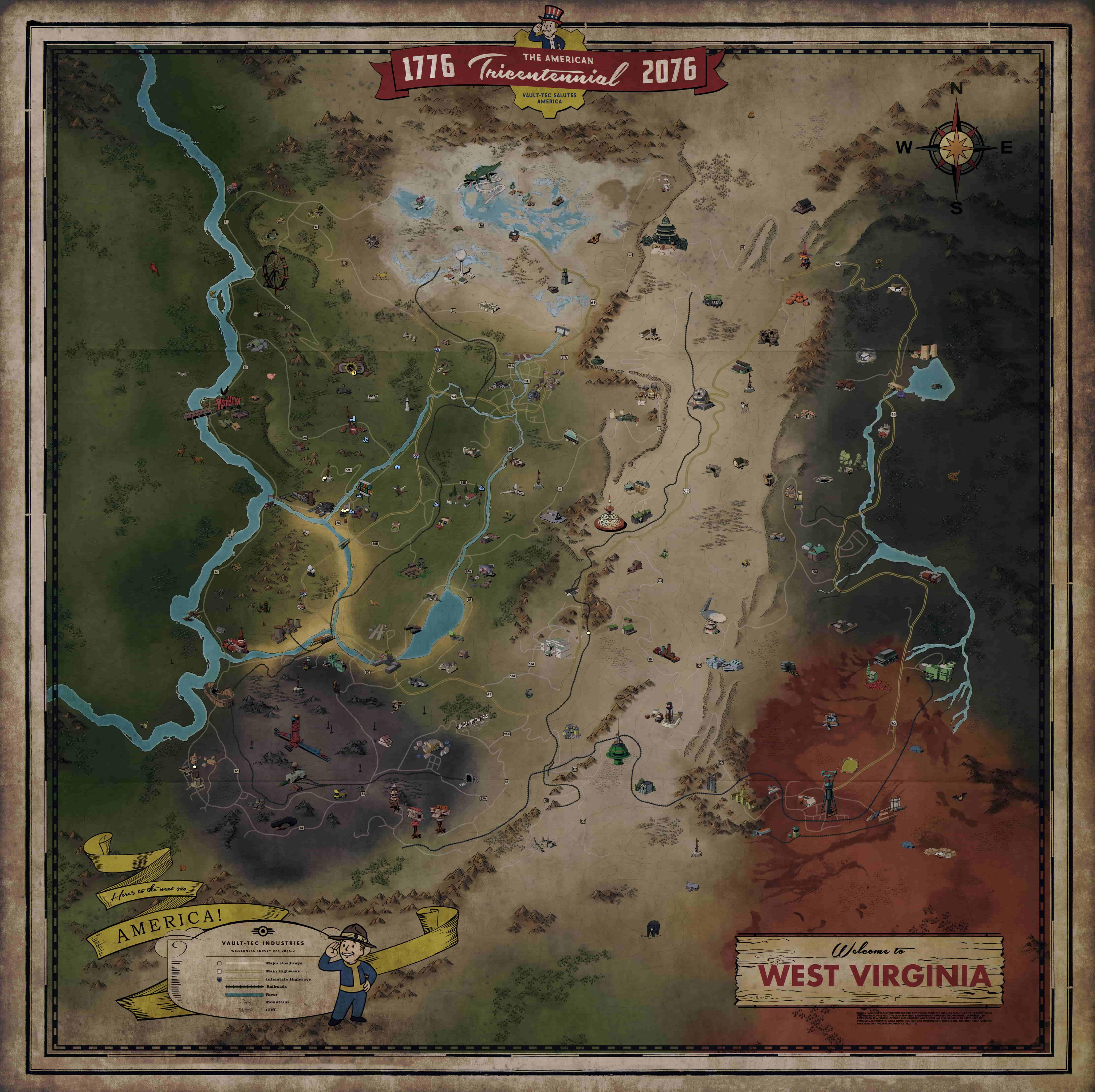 Picture of: Here S Fallout 76 S Full World Map Pcgamesn