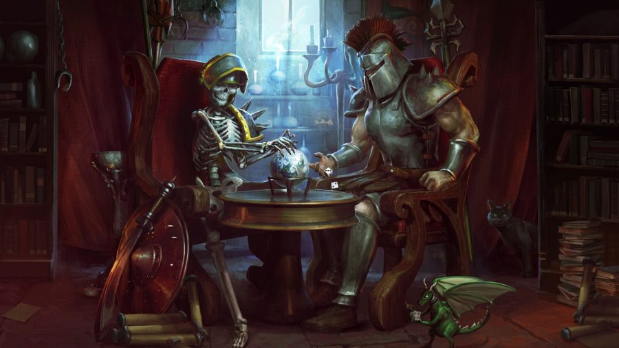 An armoured skeleton at a table with a man in Roman Centurion esque gear, in one of the best free PC games, Runescape