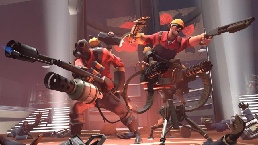 The pyro and the engineer mowing down foes in Team Fortress 2, one of the best free pc games