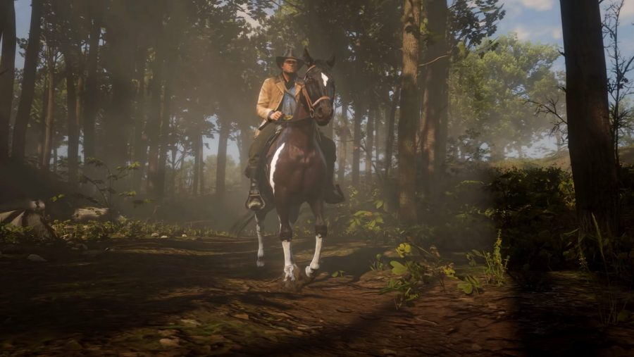 A cowboy riding a horse in Red Dead Redemption 2