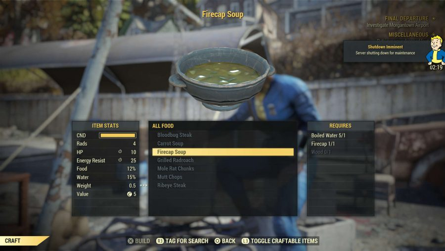 Fallout 76 tips cooking