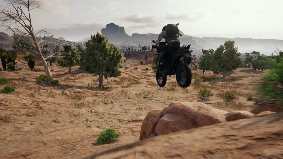 PUBG motorbike jumping a rock