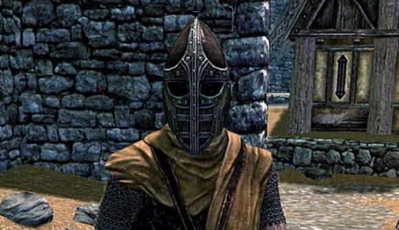 A Skyrim Whiterun guard stands in a street