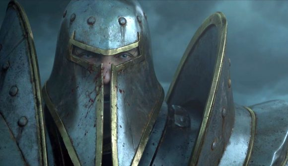 a close up of a knight in full plate, narrow slits in his helmet
