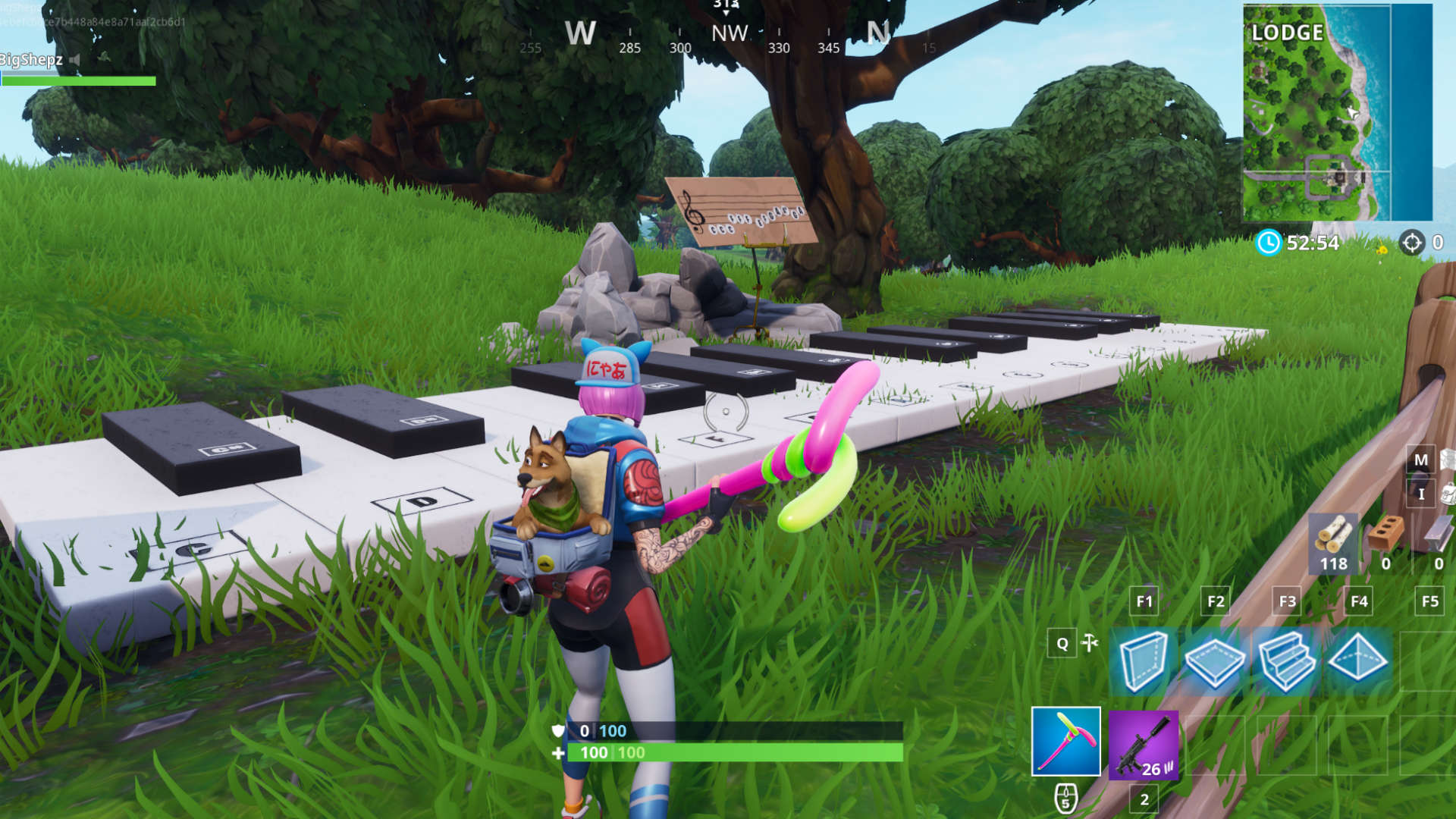 Where is the piano in fortnite lonely lodge
