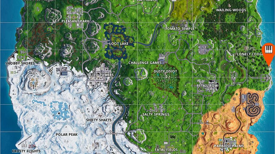 ortnite Lonely Lodge piano location map