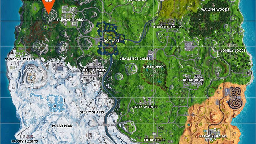 Fortnite Pleasant Park piano location map