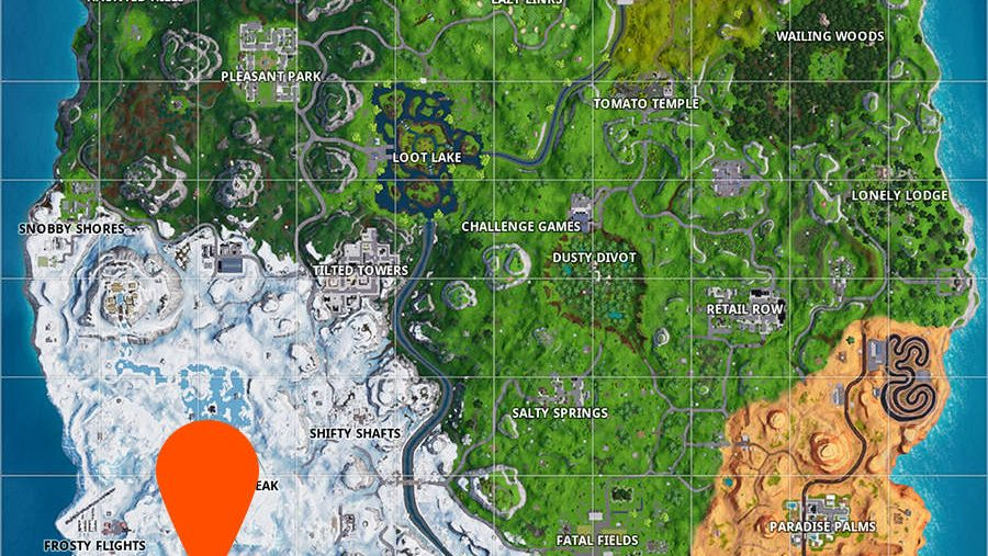 Fortnite search between three ski lodges map