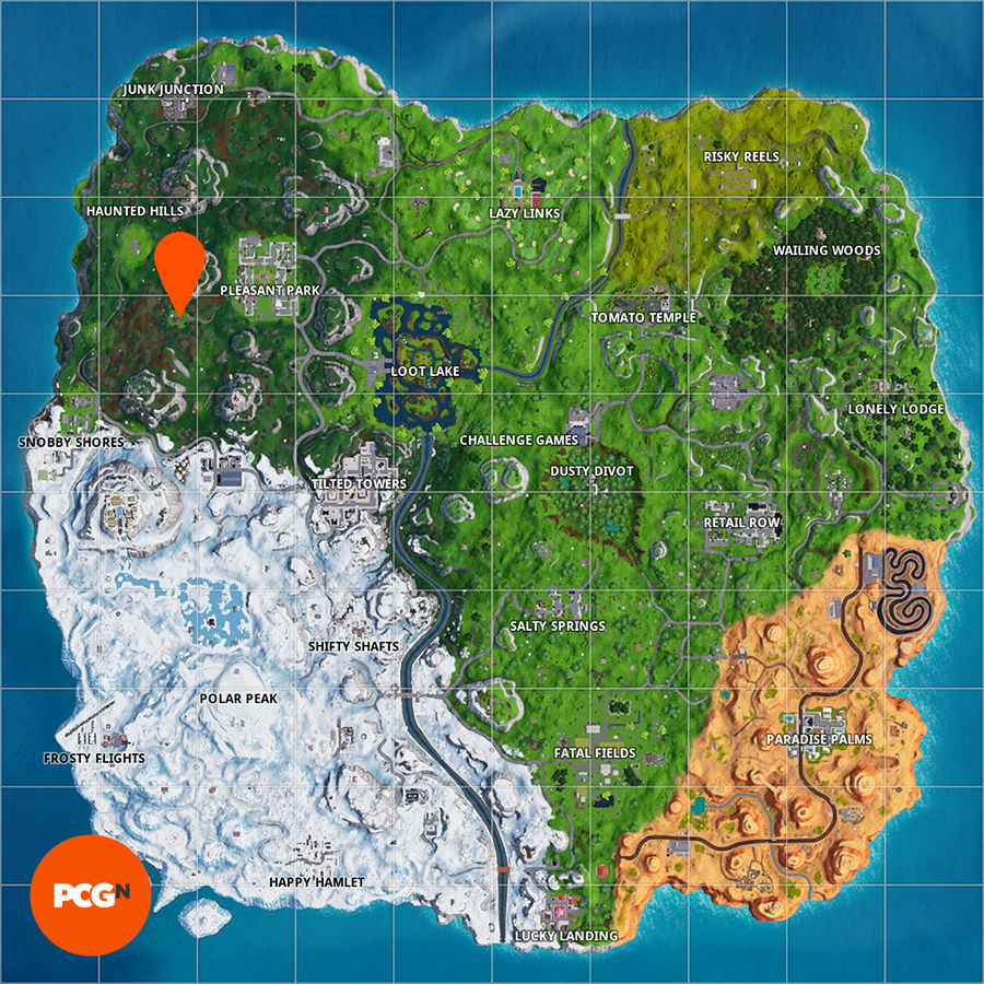 Fortnite: where to search for the letter O west of Pleasant Park