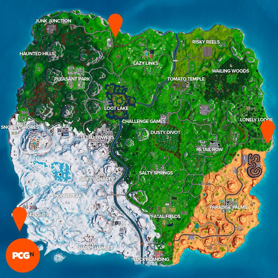Fortnite plane timed trials locations map