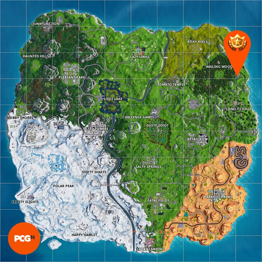 Fortnite search between a mysterious hatch a giant rock lady and a precarious flatbed map