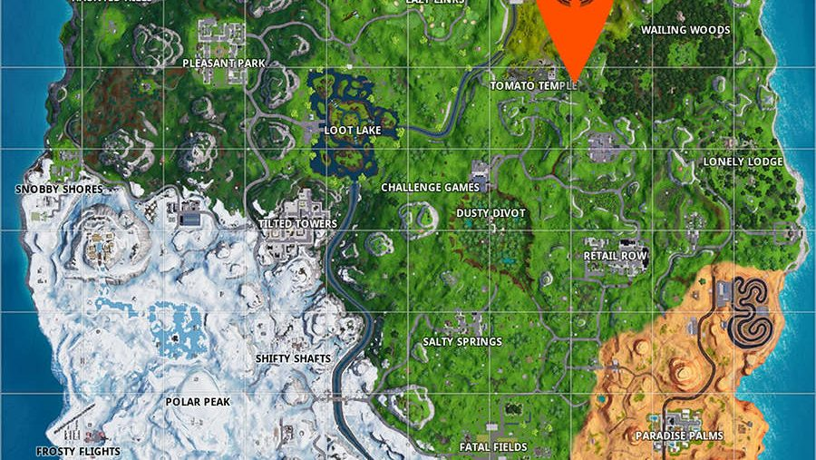 Fortnite search between giant rock man crowned tomato encircled tree location map