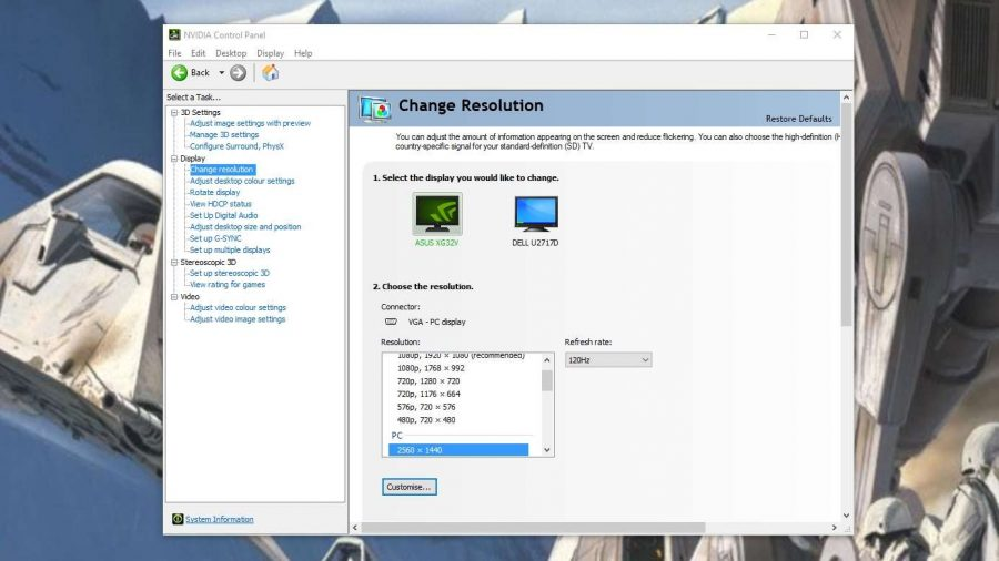 Select refresh rate