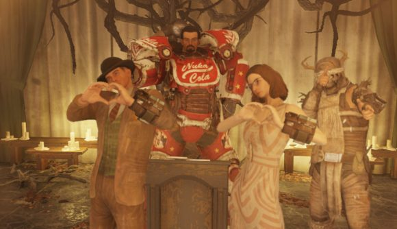 fallout couple have an in game wedding pcgamesn