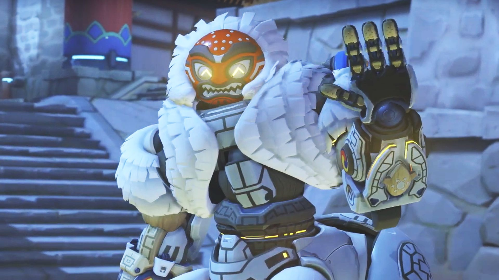 Overwatchs Orisa Dons A Terrifying Mask In Her Year Of
