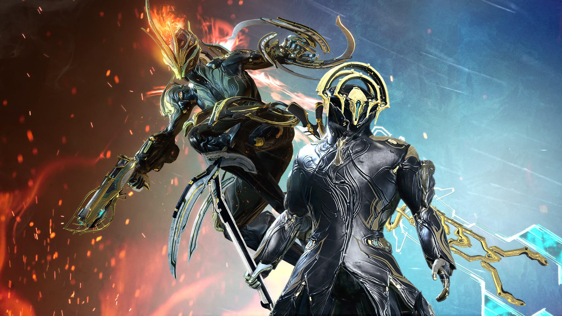 Warframe Frost Prime Ember and Frost headli...