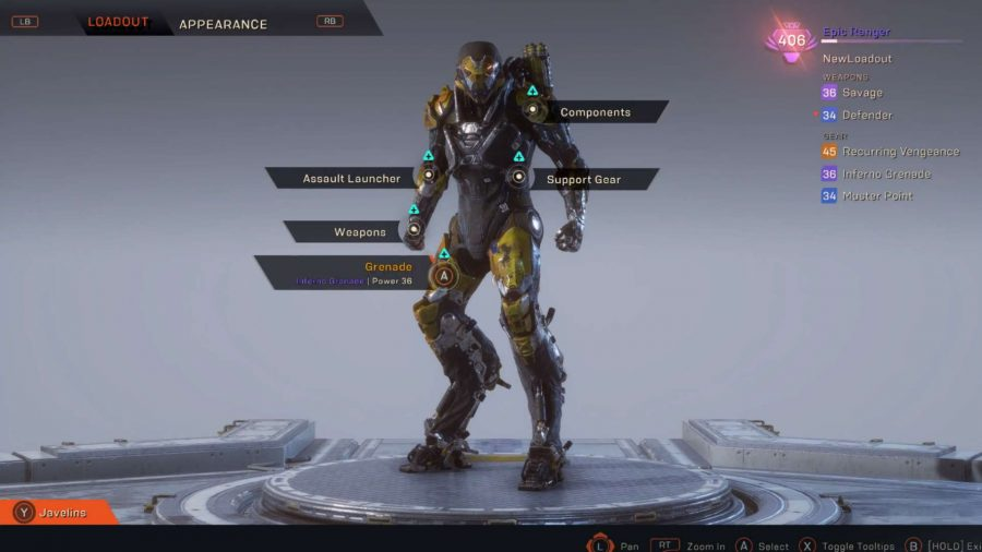 Anthem Forge loadout