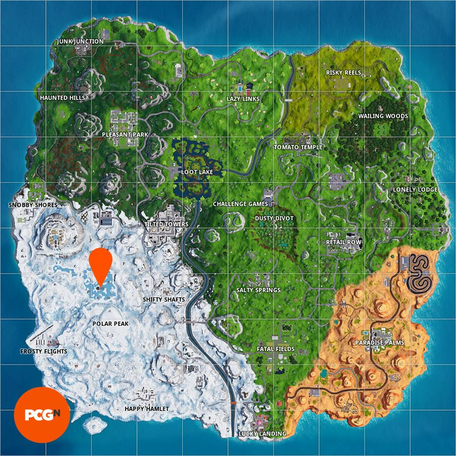Fortnite map frozen lake showtime challenges