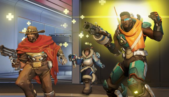 Cole Cassidy, Mei, and Baptiste gather in an Overwatch match.