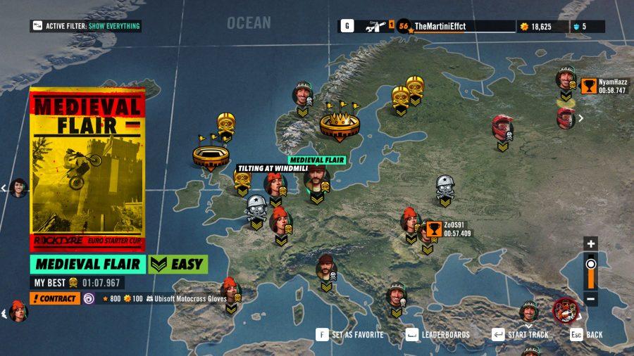 Trials Rising world map