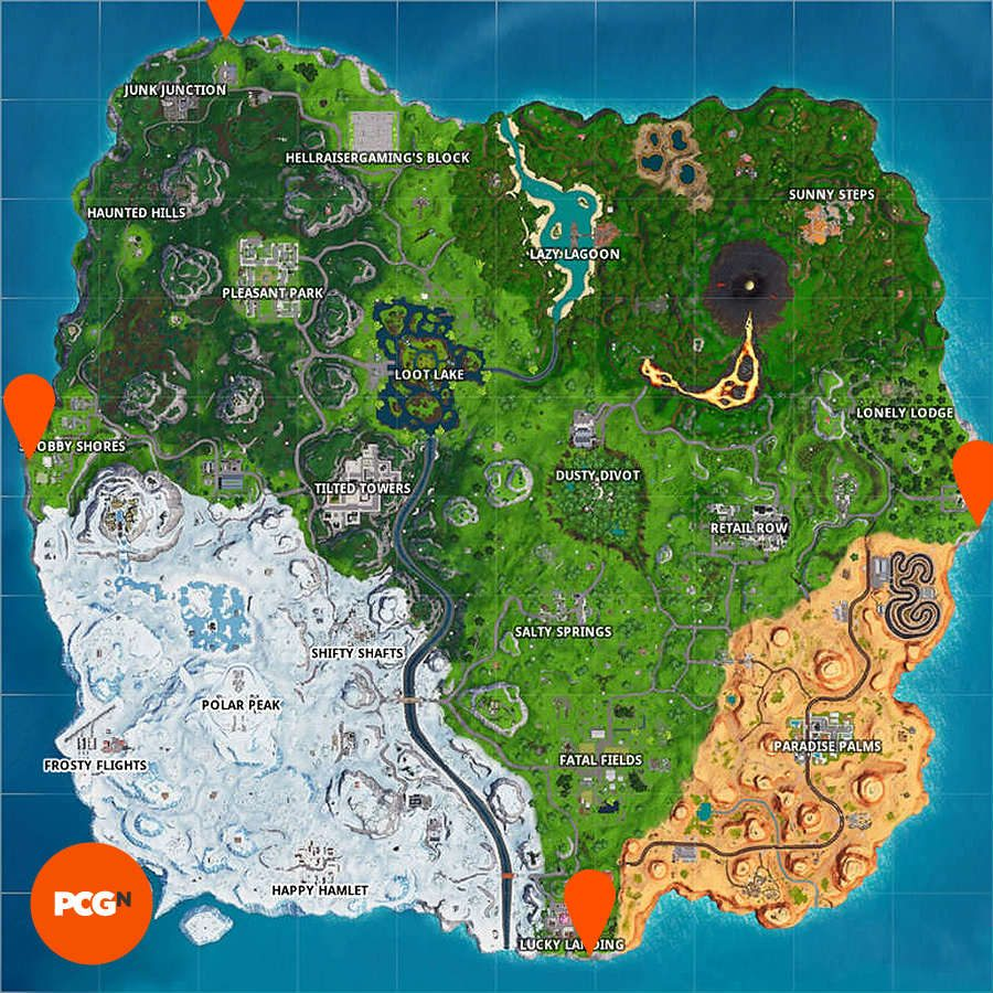 Fortnite north south east west points map