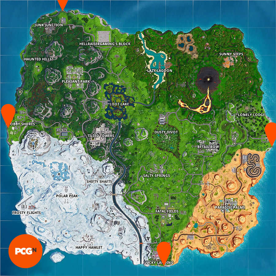 Fortnite: visit furthest north, south, east, west points ... on ↗️  id=29194