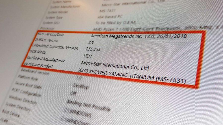 Экран с информацией о материнской плате из Microsoft Windows