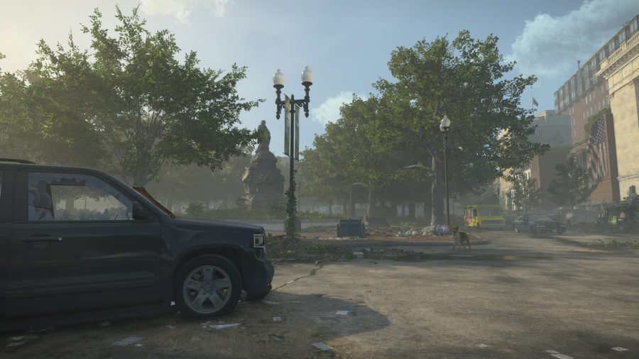 The division 2 dog and statue