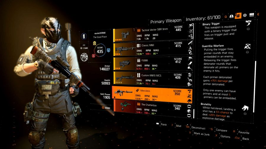how to get merciless exotic the division 2