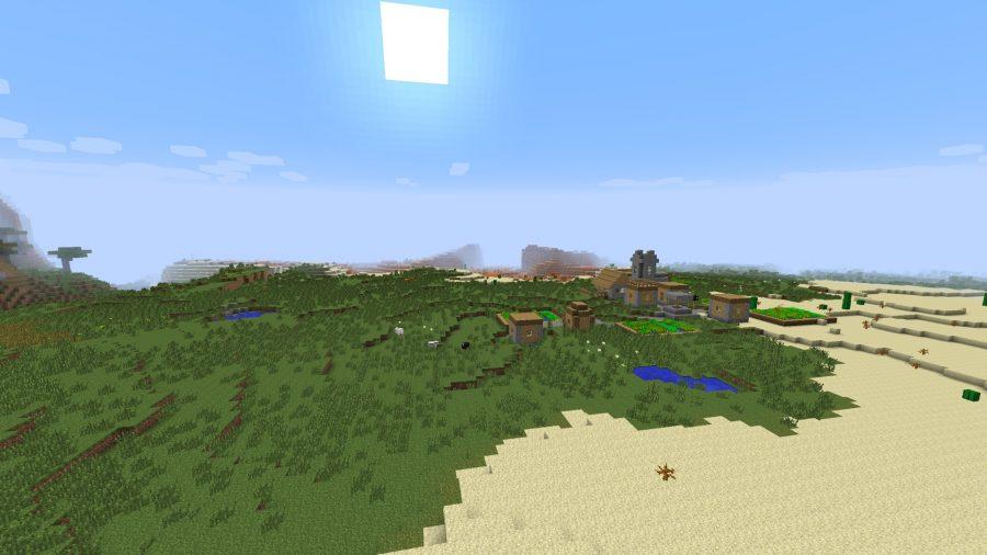 minecraft-seed-desert-village-grass