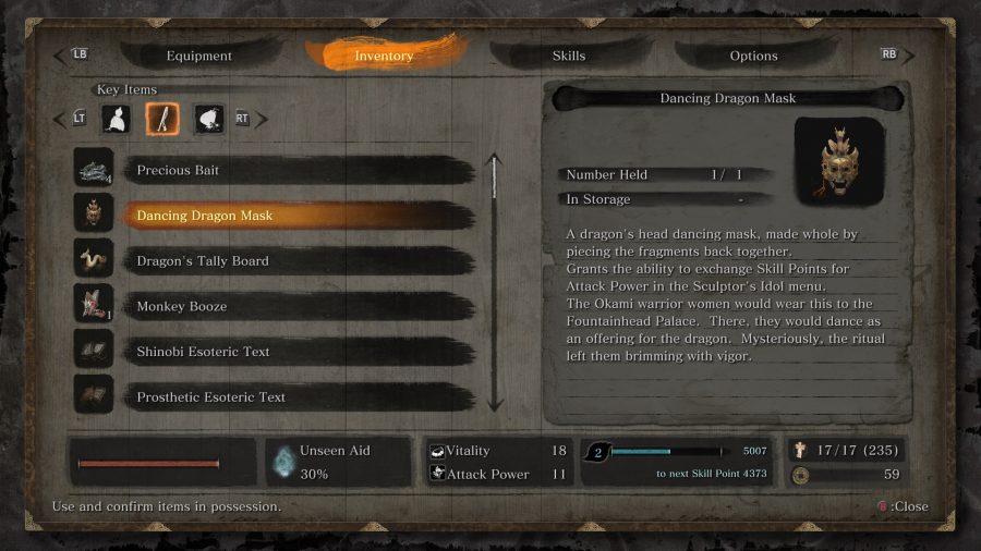 sekiro dancing dragon mask menu