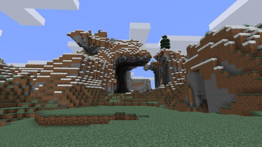 minecraft seeds hole mountain