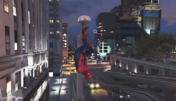 Spider-Man hits the streets of Los Santos in this Grand Theft Auto V