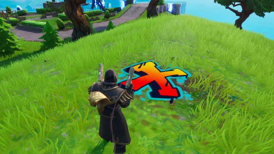 Fortnite search where the knife points on the treasure map loading screen location