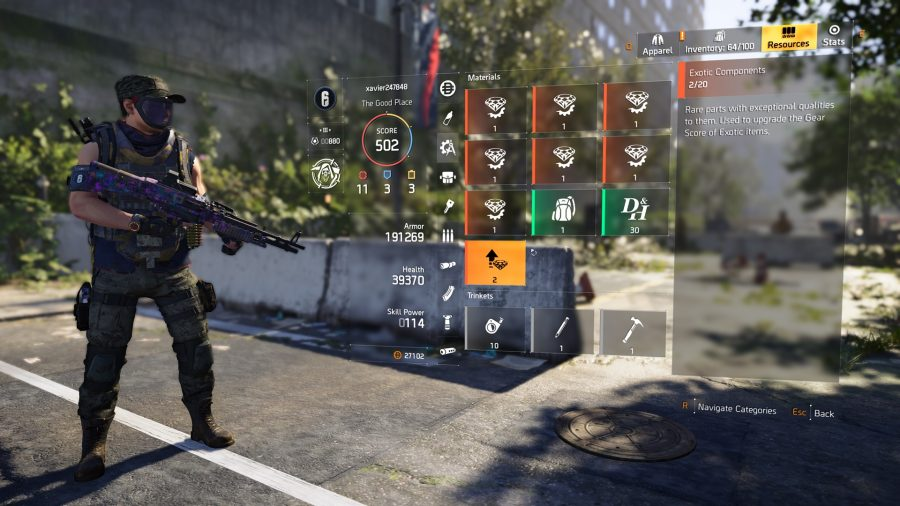 the division 2 exotic components upgrade exotics menu