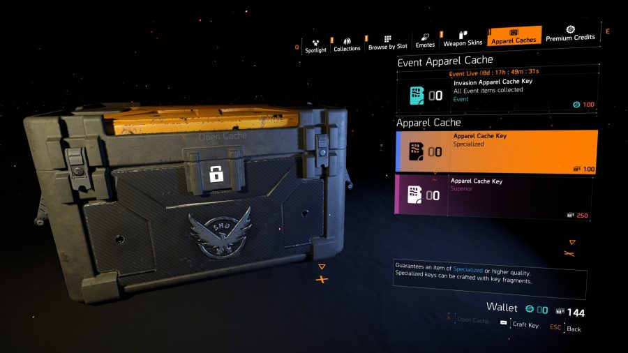 The Division 2 apparel caches