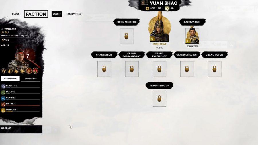 lu bu in total war three kingdoms menu