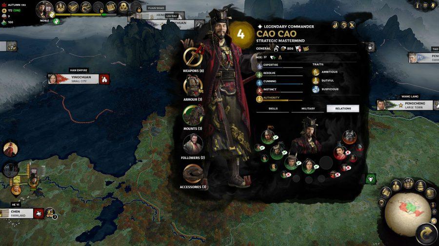 character menu in total war three kingdoms